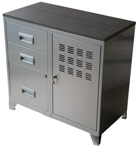 PIERRE HENRY - meuble bureau métal 1 porte 3 tiroirs aluminium - Armadio Ufficio