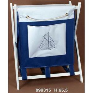 FAYE - panier à linge brodé navy - Cestino Biancheria
