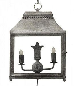 Demeure et Jardin - lanterne double en fer forgé gris à poser - Lanterna Da Esterno