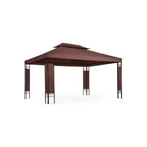 WHITE LABEL - tonnelle de jardin pavillon métal 4x3 marron - Pergolato
