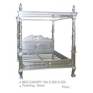 DECO PRIVE - lit à baldaquin en bois argenté couchage 160 cm - Letto Matrimoniale A Baldacchino