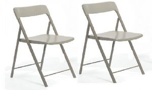 WHITE LABEL - lot de 2 chaises pliantes kully gris taupe - Sedia Pieghevole