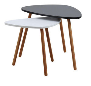 Aubry-Gaspard - set de 2 tables gigognes en mdf noir et blanc - Tavolini Sovrapponibili