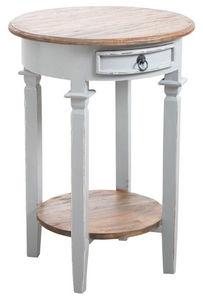 Aubry-Gaspard - table d'appoint ronde en bois gris - Tavolino Rotondo