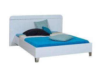 WHITE LABEL - cadre de lit + tête de lit 160*200 laqué blanc - u - Letto Matrimoniale