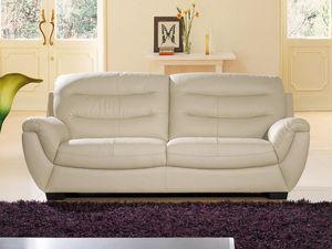 WHITE LABEL - canapé cuir 3 places coral - Divano 3 Posti