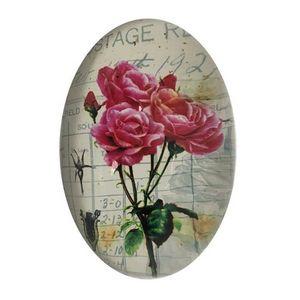 CHEMIN DE CAMPAGNE - presse papier sulfure ovale bombé motif rose en ve - Fermacarte