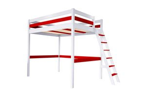 ABC MEUBLES - abc meubles - lit mezzanine sylvia avec échelle bois 160x200 blanc/rouge - Letto A Soppalco