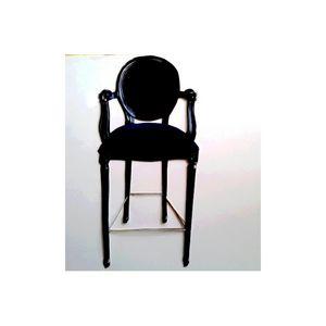 DECO PRIVE - chaise de bar médaillon velours noir - Sgabello (sedia Alta)
