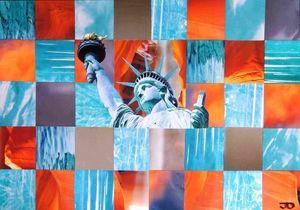 JOHANNA L COLLAGES - liberty in the desert - Quadro Contemporaneo