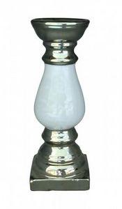 Demeure et Jardin - bougeoir céramique argent et blanc damassé - Portacandela
