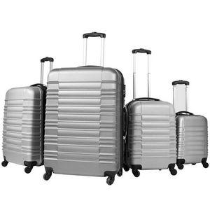 WHITE LABEL - lot de 4 valises bagage abs bleu - Trolley / Valigia Con Ruote