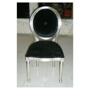 DECO PRIVE - chaise médaillon style louis xvi argenté et velour - Sedia Medaglione