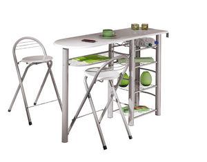 COMFORIUM - set de 2 tabourets et table haute blanc design - Tavolo Da Cucina