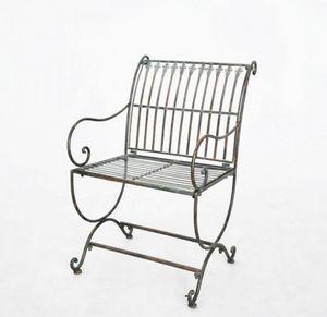 Demeure et Jardin - fauteuil en fer forgé vert de gris - Poltrona Da Giardino