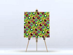 la Magie dans l'Image - toile héros pattern vert petit - Stampa Digitale Su Tela