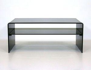 Abode Interiors - black glass coffee table with shelf - Tavolino Soggiorno Con Ripiano
