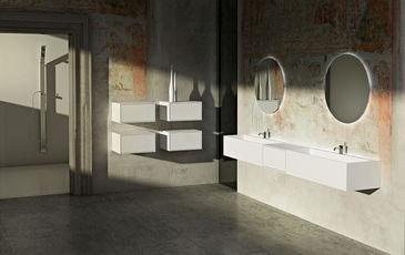 STRATOS - Contenitore mobile per bagno - Bianco - Corian - GB GROUP