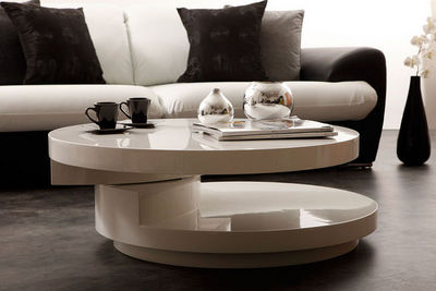 Miliboo - Tavolino rotondo-Miliboo-GLOSSY TABLE BASSE